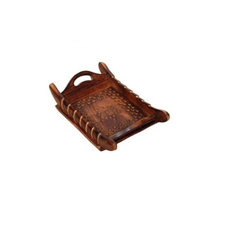 Handicraft Designed Brown Wooden Carved Tray
