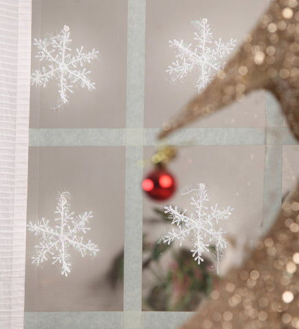 Christmas Plastic White Snow flakes window/door glass decoration Set of 12