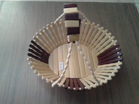 Desi Karigar Wooden Fruit Basket With Handle