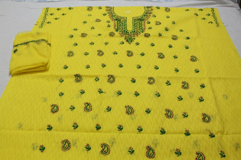 Cotton lucknowi dress material - Yellow