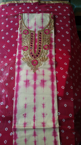 Cotton Neck Handwork with bandni duppta