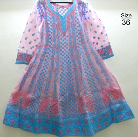 Cotton Anarkali Kurtis- Pink & Blue