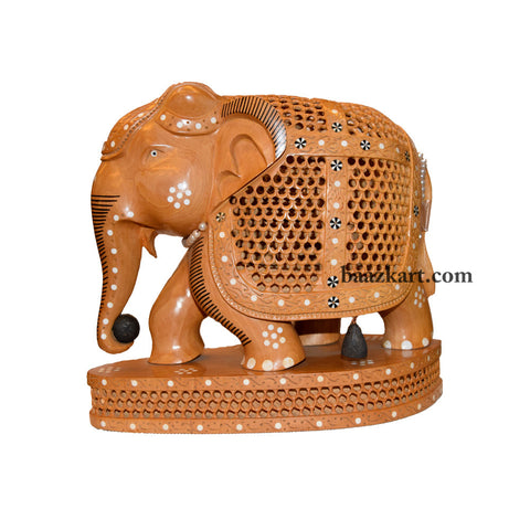 Cedar Net Carving Wooden Elephant