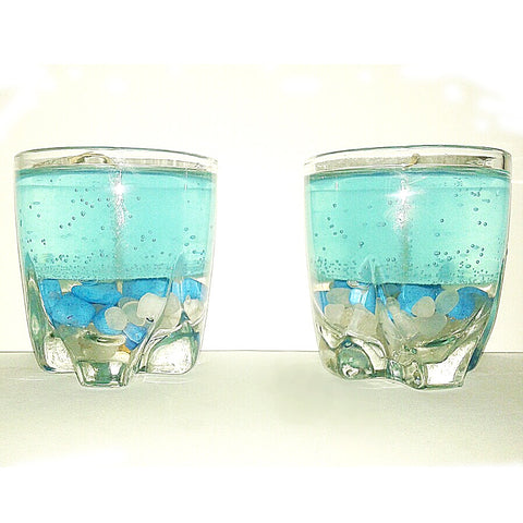 Sea Blue Glass Candles