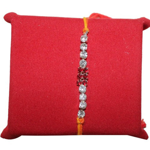 Gorgeous Red & white Stone Desinger Rakhi