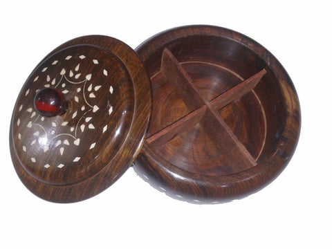 Desi Karigar Wooden Dry Fruit Box ( Brown, 7 inch )