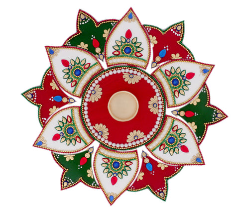 White Red Green 13 Pieces Rangoli with Golden t light holder and candle