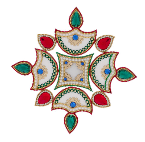 Red Green Acrylic 4 Diya Rangoli