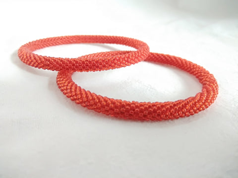 Bangles ( bead work) (red)