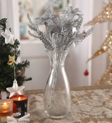 Christmas Silver Decorative Flowers