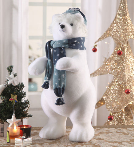 Polar Bear Cub Showpiece Christmas Decoration - Foam & Polyster