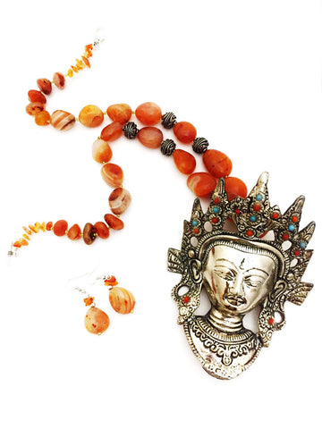 Beads Chain With Metal Face Pendant