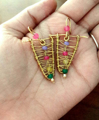 Brass Wrap Triangle Danglers