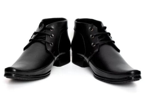 Buenos Aver 502 High Ankle Solid Lace Up Shoes  (Black)