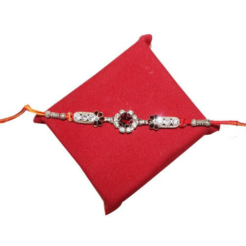 Elegant Red & White Stones Rakhi