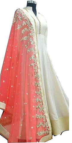 Womans Silk Designer Party Wear White Anarkali Salwar Suit Western Gown
