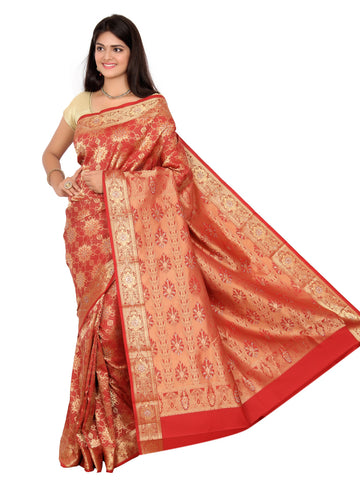 Kanchipuram Pure Silk Sarees Brocade Red