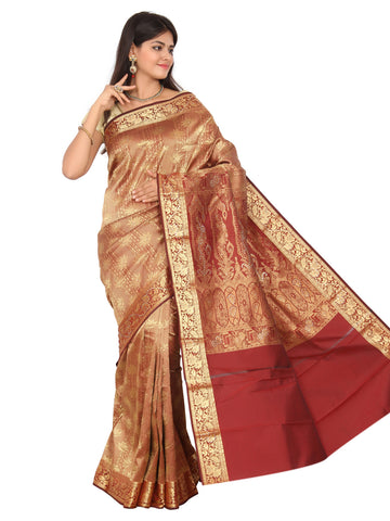 Dark Red Kanchipuram Pure Silk Brocade Saree