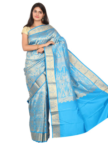 Blue Kanchipuram Pure Silk Brocade Saree