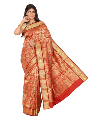 Kanchipuram Pure Silk Sarees Brocade Dark Red