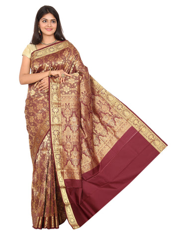 Kanchipuram Pure Silk Sarees Brocade Maroon