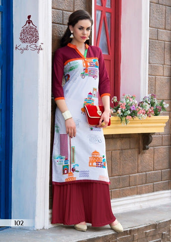 Maroon & white colour cotton printed kurti