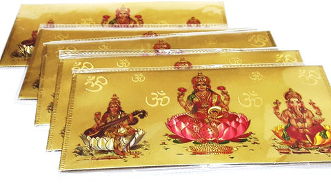 Beautiful Set of 5 Lakshmi Ganesh Saraswati Golden engraved with om Envelop