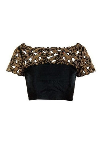 Black Cut-Work Embroiderd Unstiched Blose For Women.