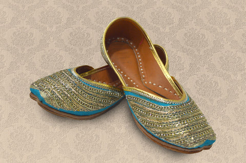 Blue Leather Wear Stone Work Jutti for Women