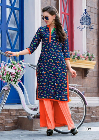 Blue colour Cotton Printed Kurta