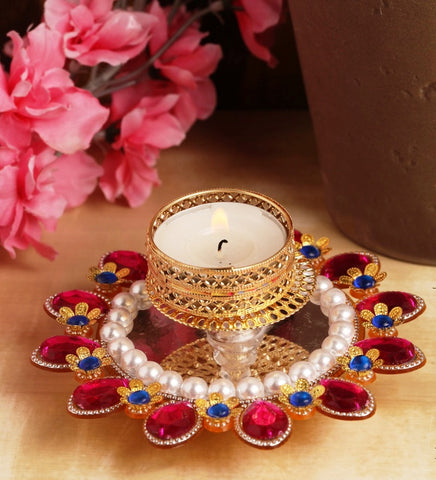 Pink Rangoli T-light Holder (12 cms)