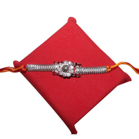 Simple Chain White Stone sliver Rakhi