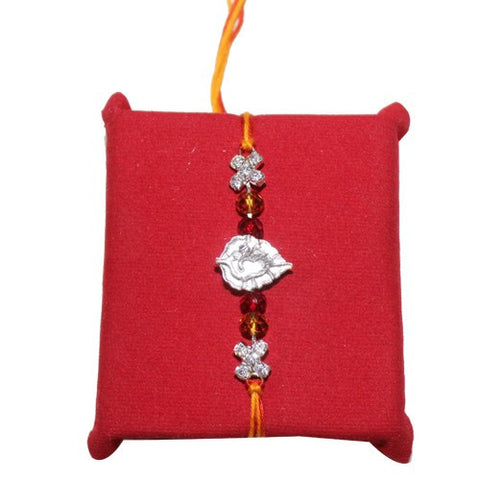 Splendid Silver Om Red & White Stone Rakhi