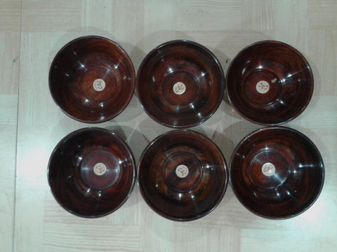 Desi Karigar Wooden Bowl Set of 6  ( Brown, 4 inch )