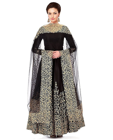Fashion Gown (HMP Fashion New Styled Full Embriodery worked Z Black heavy gowns for women party wear)