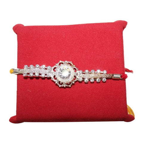 Floral Spark Silver Plated Rakhi for Brother
