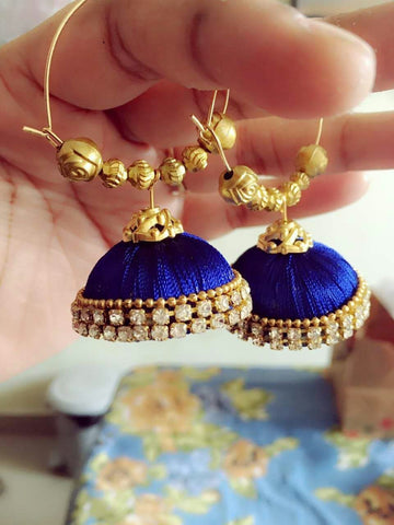Blue silk thread earring
