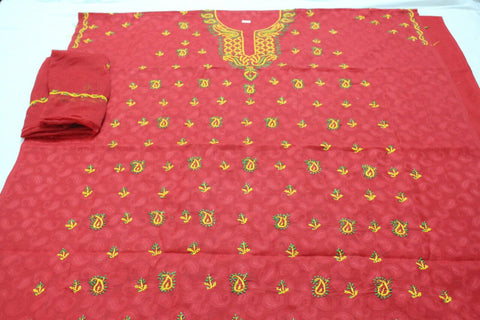 Cotton lucknowi dress material - Pink
