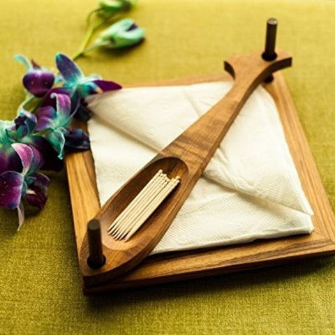 Desi Karigar Wooden Beautiful Design 2 Compartments Wooden Napkin Holder