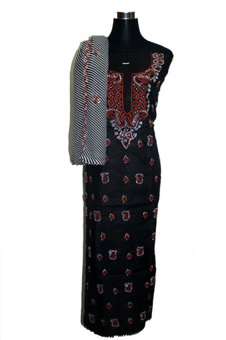 Cotton dress material with leheriya salwar and dupatta