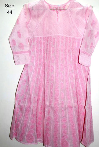 Cotton Anarkali Kurtis- Light Pink