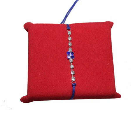 Beautiful Silver and blue stones mix rakhi
