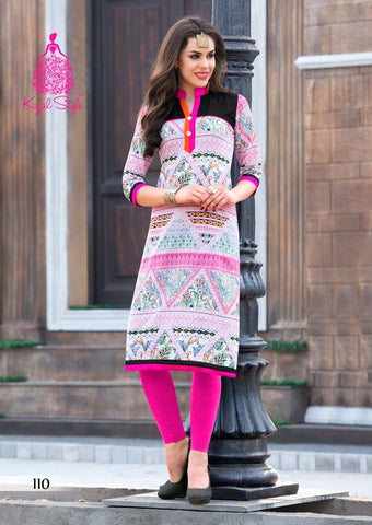 Multi colour cotton printed kurti
