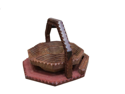 Desi Karigar Wooden Fruit Basket + Free 3 Tea Spoons