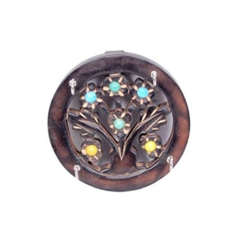 Desi Karigar Wooden Key Holder In Round Shape