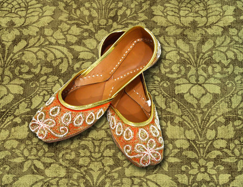 Orange Designer Jutti for Women