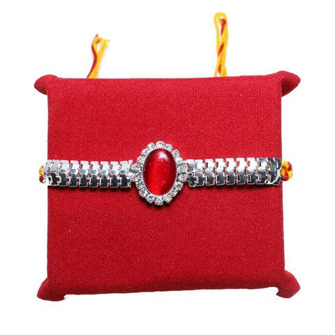 Beautifull Silver red stone Rakhi