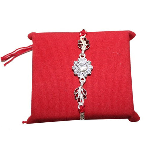 Silver Stone Flower with Red Bracelet Rakhi