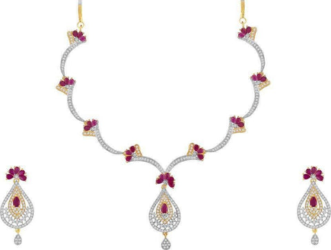 OJAS Necklace in AD n Ruby