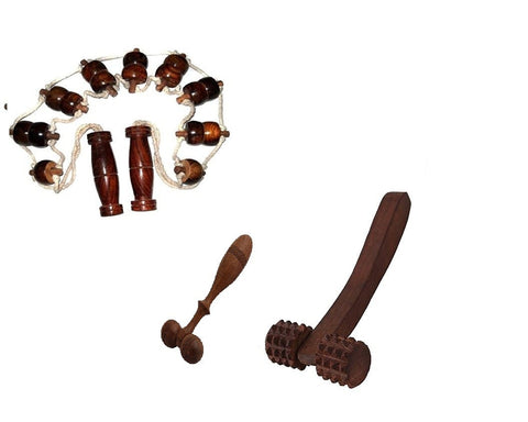 Desi Karigar 3 Pc Wooden Acupressure Massager Set